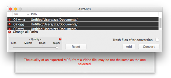 Convert MOV to MP3 on Mac